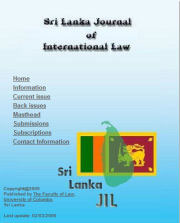 Sri Lanka journal of International Law – Call for Papers 2017