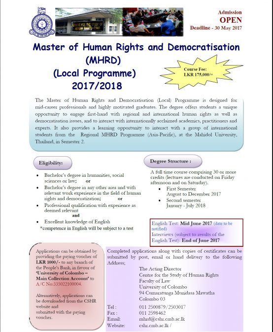 Master of  Human Rights and Democratisation 2017/2018 –      Call for Applications