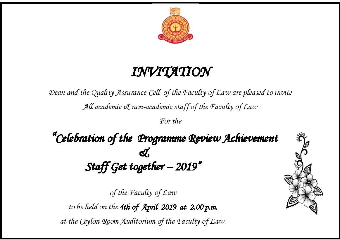 Celebration of the  Programme Review Achievement       &   Staff Get together – 2019