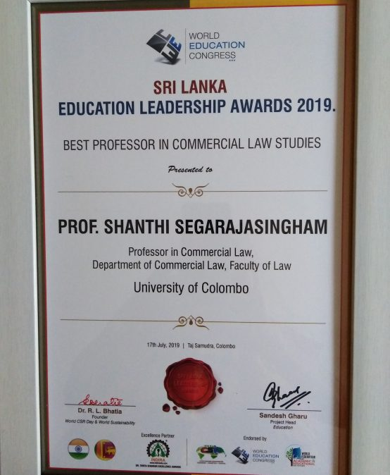 Prof. Segarajasingham Receives 'The Best Professor in Commercial Law Studies' Award
