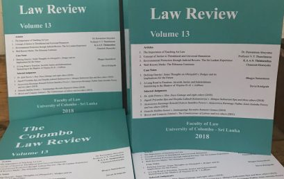 Launch of the 13th Volume of the Colombo Law Review