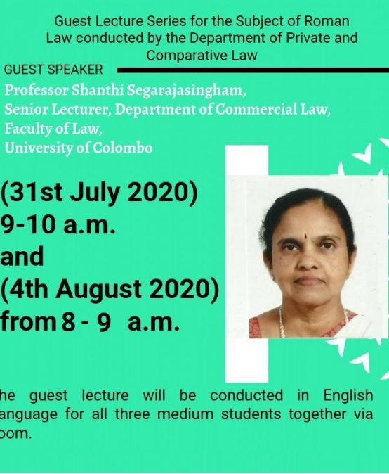 Guest lectures on Roman Law (Law of Obligations)