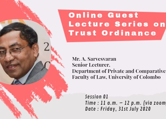 GUEST LECTURE SERIES ON TRUST ORDINANCE – SESSION I