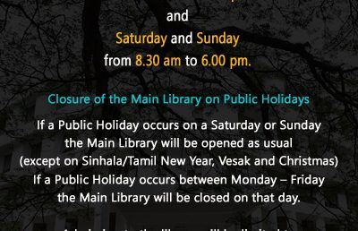 The opening hours of the Main Library, University of Colombo