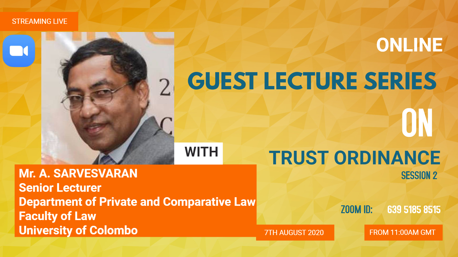 GUEST LECTURE SERIES ON TRUST ORDINANCE – SESSION II