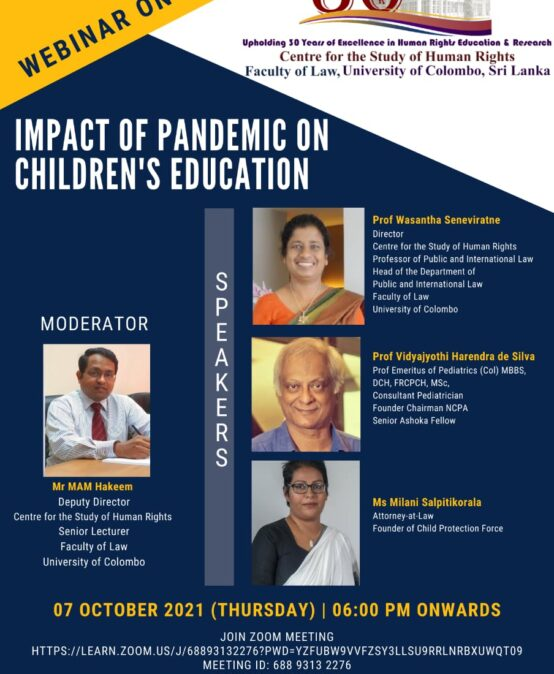 Webinar on the Impact of Pandemic on Children's Education